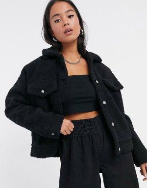 Черная куртка из искусственной цигейки -Черный Dr Denim