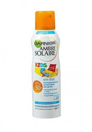 Спрей солнцезащитный Garnier сухой, Ambre Solaire Эксперт Защита KIDS  Анти-Песок, SPF 50, 200 мл. Цвет: прозрачный