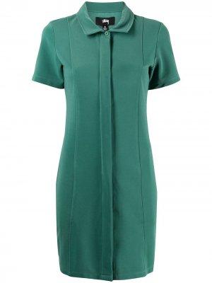 Платье-рубашка мини с короткими рукавами Stussy. Цвет: зеленый