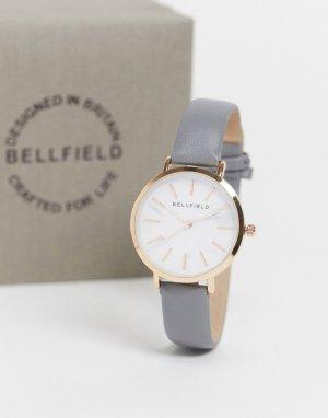 Часы с ремешком из искусственной кожи и золотистой отделкой циферблата -Серый Bellfield