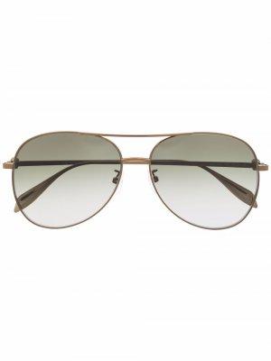 Солнцезащитные очки-авиаторы с эффектом градиента Alexander McQueen Eyewear. Цвет: зеленый