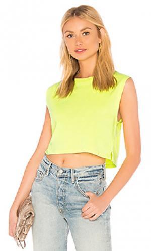 Укороченная майка neon sleeveless crop Hanes x Karla. Цвет: желтый