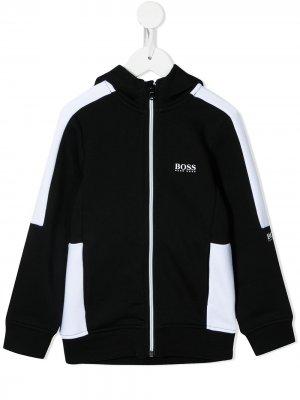 Two-tone zip-up jacket BOSS Kidswear. Цвет: черный