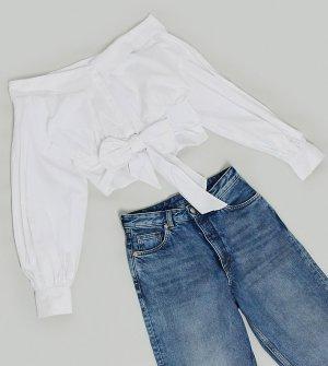 Белая рубашка с открытыми плечами и длинными рукавами ASOS DESIGN Tall-Белый Tall