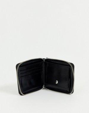 Черный кошелек из искусственной кожи на молнии с цепочкой ASOS DESIGN