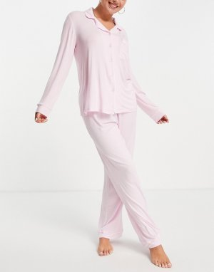 Трикотажная пижама розового цвета из экомодала с топом отложным воротником и штанами -Розовый цвет Chelsea Peers