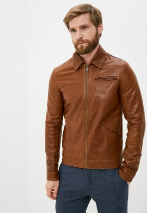 Куртка кожаная Trussardi Collection. Цвет: коричневый