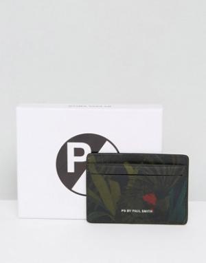 Черная кожаная визитница с принтом листья PS By Paul Smith. Цвет: черный