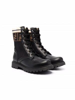 Ботинки на шнуровке с логотипом FF Fendi Kids. Цвет: черный
