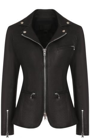 Приталенная кожаная куртка на молнии Alexander Wang. Цвет: черный