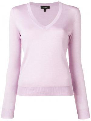 Приталенный пуловер Theory. Цвет: фиолетовый