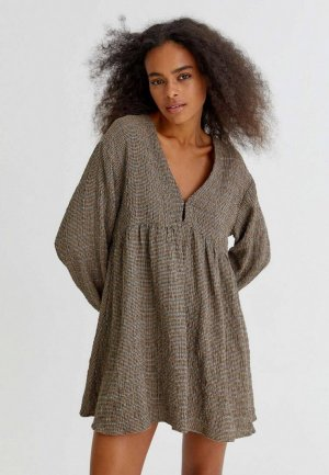 Платье Pull&Bear. Цвет: коричневый