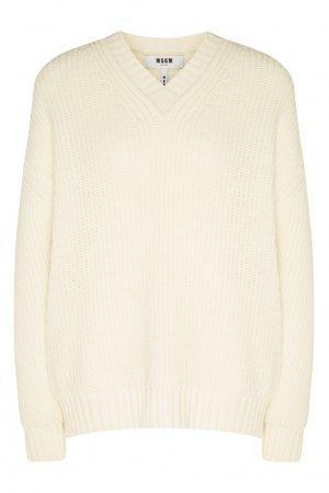 Белый пуловер кроя оверсайз MSGM. Цвет: белый
