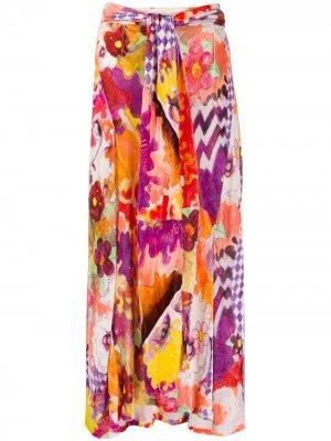 Расклешенная юбка миди 1990-х годов с цветочным принтом John Galliano Pre-Owned. Цвет: розовый