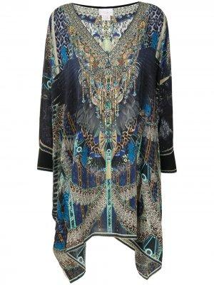 Graphic-print kaftan dress Camilla. Цвет: синий