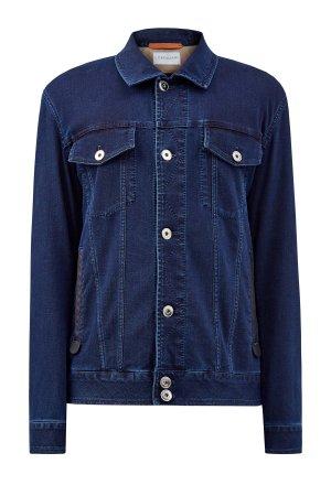 Окрашенная в готовом виде куртка из денима CORTIGIANI. Цвет: синий