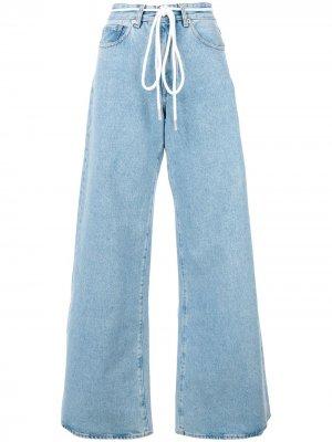 Расклешенные джинсы на шнурке Off-White. Цвет: синий