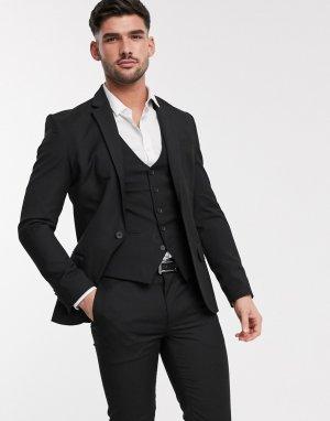 Черный пиджак скинни -Черный цвет New Look