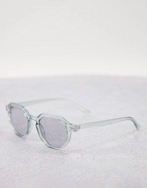 Круглые солнцезащитные очки в прозрачной оправе серого цвета со слегка дымчатыми стеклами -Серый ASOS DESIGN