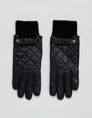 Черные кожаные перчатки Paul Costelloe. Цвет: черный
