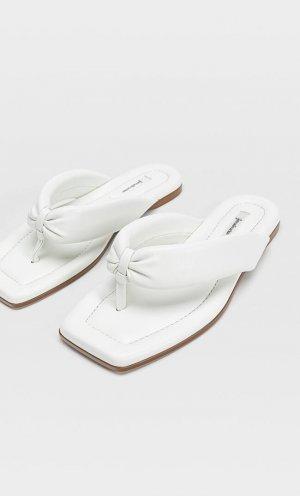 Стеганые Тапочки На Плоской Подошве Белый 40 Stradivarius. Цвет: белый
