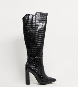 Черные ботфорты с крокодиловым рисунком -Черный Glamorous Wide Fit