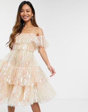 Розовое платье миди с открытыми плечами и пайетками -Розовый Forever U