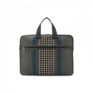 Кожаная сумка для ноутбука Bottega Veneta. Цвет: серый