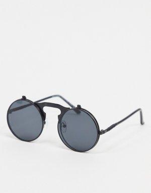 Черные круглые солнцезащитные очки -Черный цвет SVNX
