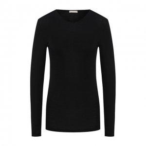 Пуловер из смеси шерсти и шелка Hanro. Цвет: чёрный