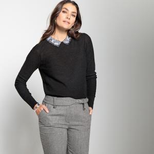 Пуловер из тонкого трикотажа с закругленным отложным воротником кружева ANNE WEYBURN. Цвет: черный