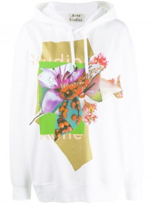 Logo and floral print hooded sweater Acne Studios. Цвет: белый