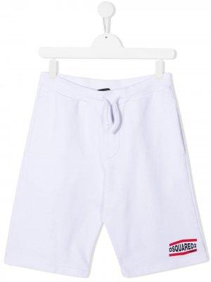 Спортивные шорты с логотипом Dsquared2 Kids. Цвет: белый