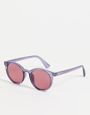 Круглые солнцезащитные очки с красными стеклами -Красный New Look