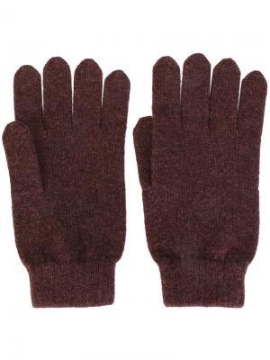 Перчатки ребристой вязки N.Peal. Цвет: розовый и фиолетовый