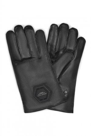 Черные перчатки с символом Philipp Plein. Цвет: черный