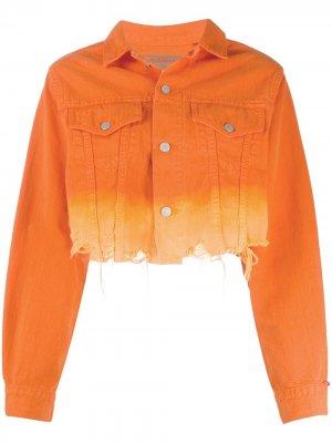 Укороченная джинсовая куртка с градиентным эффектом Denimist. Цвет: оранжевый