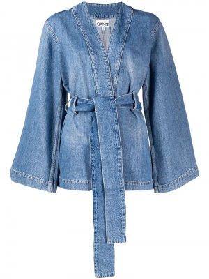 Джинсовая куртка с поясом GANNI. Цвет: синий