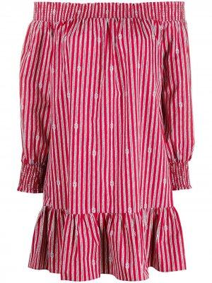 Полосатое платье с открытыми плечами Michael Kors. Цвет: красный