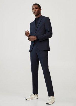 Костюмные брюки slim fit из шерсти - Travel Mango. Цвет: темно-синий