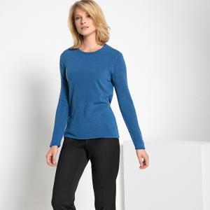 Пуловер с круглым вырезом, из тонкого трикотажа ANNE WEYBURN. Цвет: экрю,ярко-синий