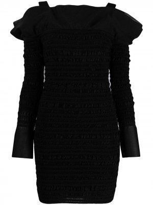 Платье мини с открытыми плечами Hervé Léger. Цвет: черный