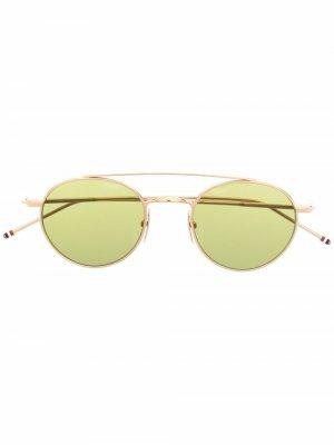 Позолоченные солнцезащитные очки-авиаторы TB101 Thom Browne Eyewear. Цвет: золотистый