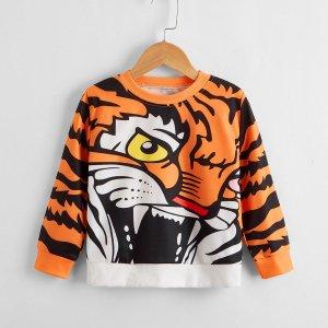 Для мальчиков Свитшот с принтом тигра SHEIN. Цвет: многоцветный