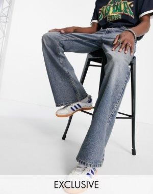 Свободные расклешенные джинсы в стиле 90-х сине-голубого выбеленного цвета Inspired-Голубой Reclaimed Vintage