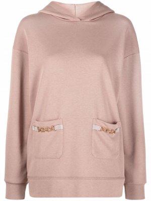 Horsebit-detail hoodie Elisabetta Franchi. Цвет: розовый