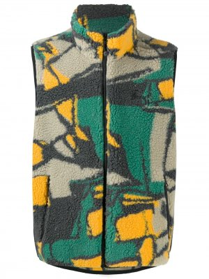 Флисовый жилет с абстрактным принтом Stussy. Цвет: зеленый