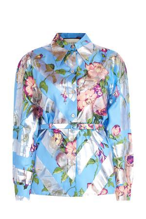 Блуза с ламинированным принтом металлик и ремнем GUCCI. Цвет: мульти