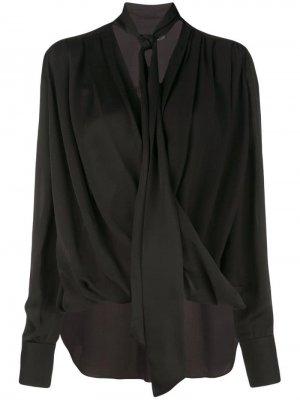 Блузка оверсайз с длинными рукавами и драпировкой Derek Lam. Цвет: черный