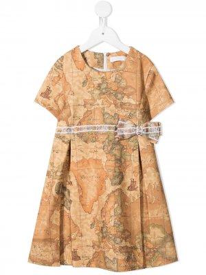 Расклешенное платье с принтом Alviero Martini Kids. Цвет: коричневый